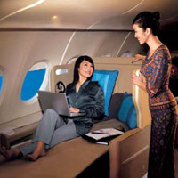 Old business class seats, Singapore Airlines