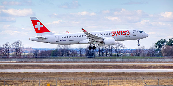 SWISS A220 touching down at Kyiv, Ukraine - a sleek marvel to take on the Boeing 737 MAX from Bombardier and Airbus