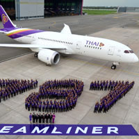 THAI's B787 offers 264 seats with 3-3-3 in economy