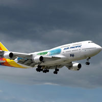 Air Pacific operates B747s Fiji-Hong Kong