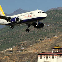 Small Asian airlines, Drukair A319 from Bhutan's Paro Airport
