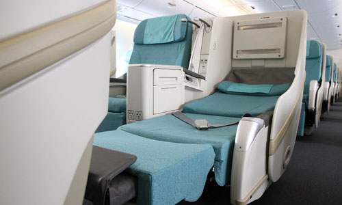 Widest business class seats and the most leg room aloft