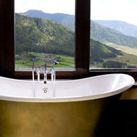 Local design and soaks with a view at Gangtey Goenpa Lodge, Bhutan
