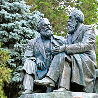 Bishkek guide, Karl Marx and Engels statue at Dubovy Park