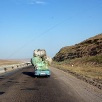 Uzbekistan travel, road  outside Tashkent, photo: Mahesh Mathai/AJ Williamson