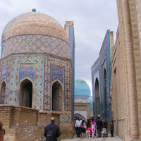 Uzbek tour past blue domes and minarets