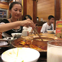 Yulin Food Court, Sichuan hot pot is a spicy favourite - photo by Vijay Verghese
