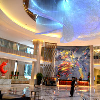 Sofitel koi fish paintain adorns the lobby wall