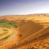Sand skiing in Mongolia