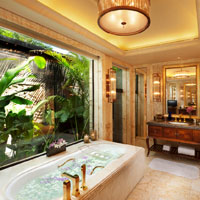 Sanya resorts review, Conrad Haitang Bay marble bathroom