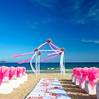 Sanya resort weddings, Sheraton Sanya Yalong Bay beach set-up