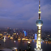 TV tower view from Ritz Pudong's rooftop Flair bar