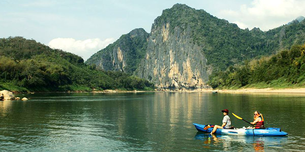 Luang Prabang adventure travel - doing the Mekong and Nam Khan rivers on kayaks with Tiger Trails