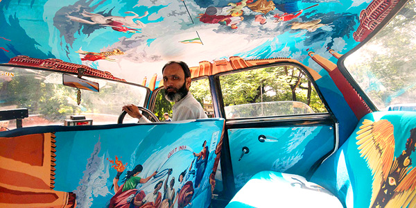 Mumbai fun guide and business hotels review - colourful cab interior