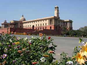New Delhi's Rashtrapathi Bhawan in February 2014 with flowers in bloom