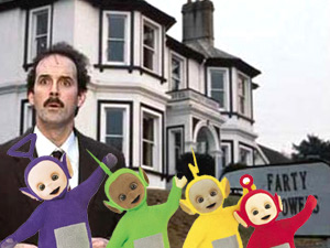 John Cleese as Basil Faulty from Fawlty Towers, with a few Teletubbies
