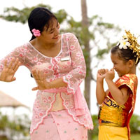 Balinese dance, at child-friendly resort Conrad Bali, family friendly stays