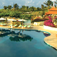 The endless swimming pools are part of the family fun at Grand Hyatt Bali
