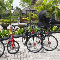 Family friendly resorts, bikes at Zuri Kumarakom, Kerala, India