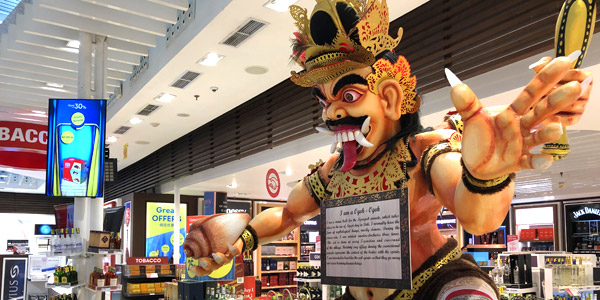 Best Asian duty-free prices at airports and 30,000ft aloft - Ogoh-Ogoh display at Bali airport