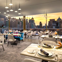 Luxury meetings in Hong Kong at The Murray, by Niccolo - sunset view from rooftop Popinjays