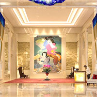 Jakarta conference hotels review, the Raffles marble lobby with its striking mural is a must selfie stop