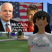 Second life virtual travel, follow political campaigns