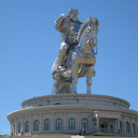 Sightseeing along Trans Siberian Railway line, giant statue of Genghis Khan