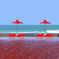 Koh Samui wedding at The Library - blood red pool backdrop
