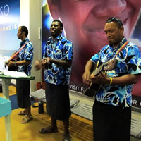 Welcome serenade at Fiji airport