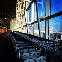 Duty-free shopping is easy at the airport with light-weight trolleys
