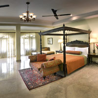 Lalit Goa is a stylish address with marble floors and four-poster beds