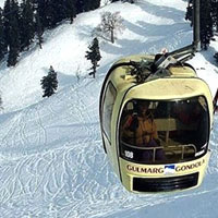 Gondola ride up Gulmarg slopes