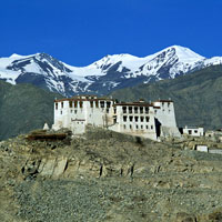 Ladakh guide, monastery framed by mountains