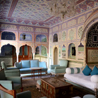 Rajasthan guide to palace hotels, Samode Palace frescoes