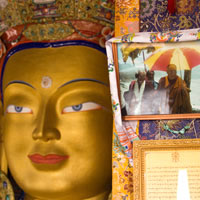 Leh sights, Buddhist statues around Leh with His Holiness The Dalai Lama's photograph