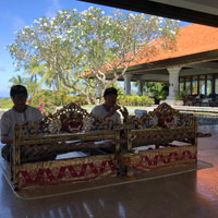 Bali beach wedding, Grand Hyatt Bali gamelan players