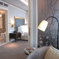 Four Seasons is one of the best Jakarta luxury hotels for business - silver pastel room