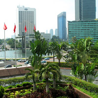 Jakarta business hotels, Grand Hyatt view from Fountain Lounge