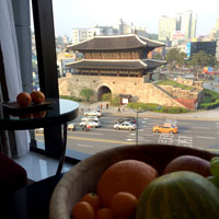 Dongdaemun East Gate view from room at JW Marriott