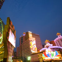 Macau casino hotels light up the night