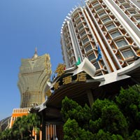 Macau casino hotels, Lisboa Hotel Macau and Grand Lisboa in background