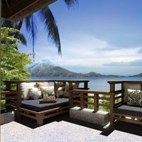 Sabah luxury resorts, Gaya Island patio sun deck