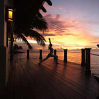 Yoga stretch at Shangri-La's Tanjung Aru Resort & Spa