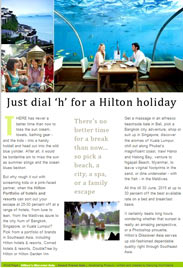 A4 online page, brochure, news release for airlines, NTOs, Hotels, Fashion, Cars - Hilton Corporate Discover Asia page