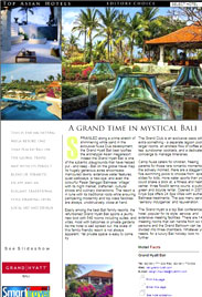 Top Asian Hotels A4 page for Grand Hyatt Bali