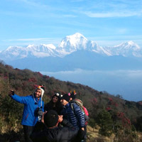 Selfies in front of the Annapurna-Dhaulagiri ranges