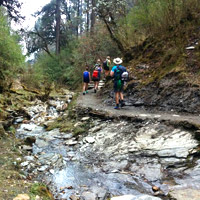 Nepal trekking, river trail after Pokhara