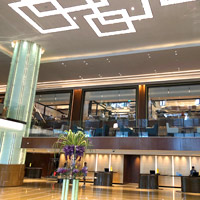 Grand Hyatt's minimalist lobby with geometric patterns and water features