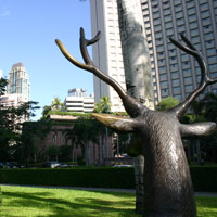 Manila business hotels review, Makati deer statue looks at Shangri-La